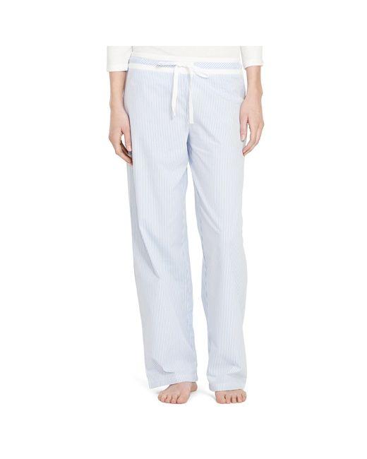 Ralph Lauren | Blue Cotton Poplin Pajama Pant | Lyst
