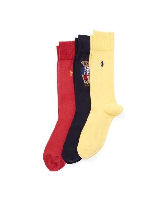 Polo Ralph Lauren - Orange Polo Bear Trouser Sock 3-pack for Men - Lyst