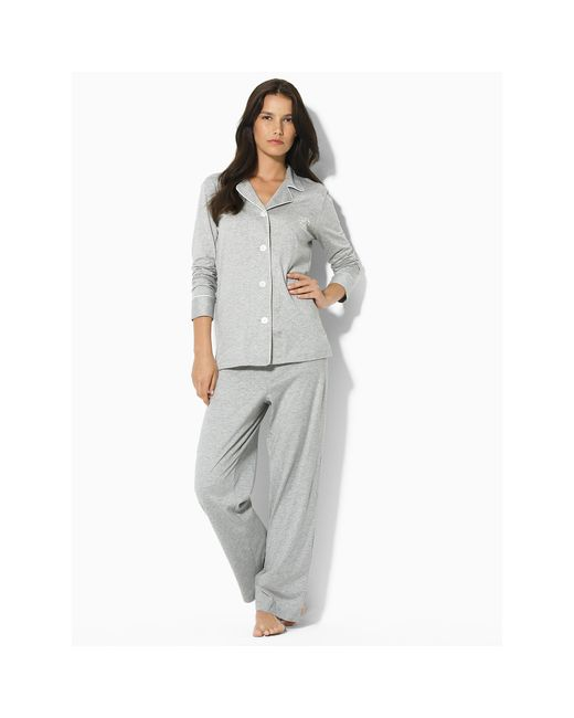 Ralph Lauren | Gray Cotton Jersey Pajama Set | Lyst