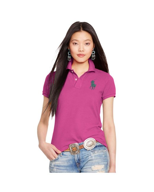 Polo Ralph Lauren | Pink Skinny-fit Big Pony Polo Shirt | Lyst