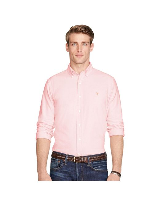 Polo Ralph Lauren | Pink Slim Fit Cotton Oxford Shirt for Men | Lyst