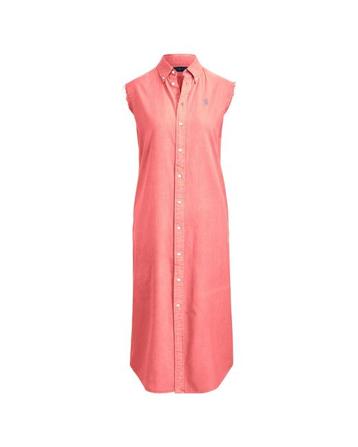 f3fb0770bda Polo Ralph Lauren - Pink Sleeveless Oxford Shirtdress - Lyst ...