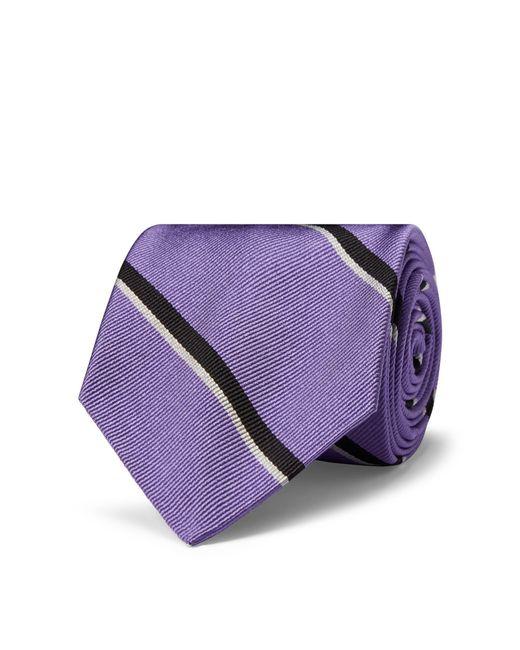 Polo Ralph Lauren - Purple Striped Silk Twill Narrow Tie for Men - Lyst