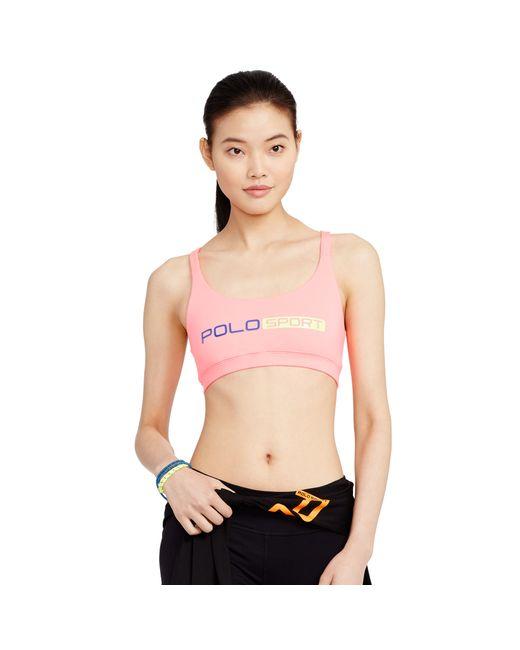 Polo Ralph Lauren | Pink Crisscross-back Sports Bra | Lyst