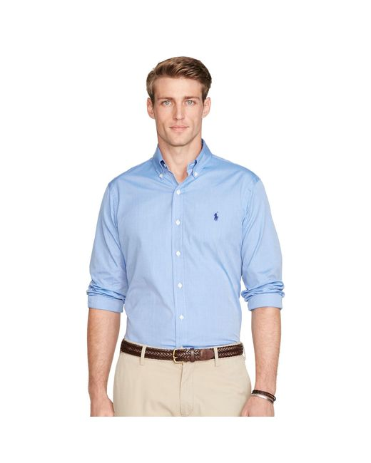 Polo Ralph Lauren | Blue Solid Cotton Poplin Shirt for Men | Lyst