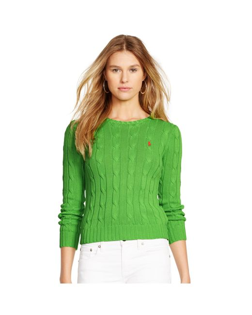 Polo Ralph Lauren   Green Cable-knit Cotton Sweater   Lyst