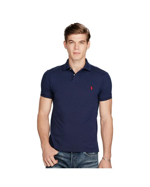 Polo Ralph Lauren | Blue Slim-fit Mesh Polo Shirt for Men | Lyst