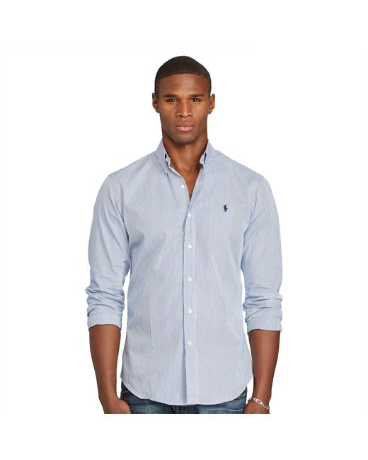 Polo Ralph Lauren | Blue Slim-fit Striped Poplin Shirt for Men | Lyst