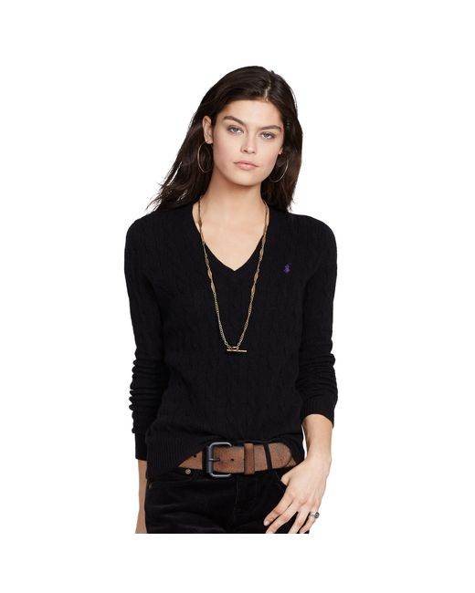 Polo Ralph Lauren | Black Wool Blend V-neck Sweater | Lyst