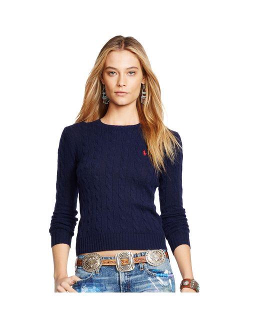 Polo Ralph Lauren | Blue Wool Blend Crewneck Sweater | Lyst