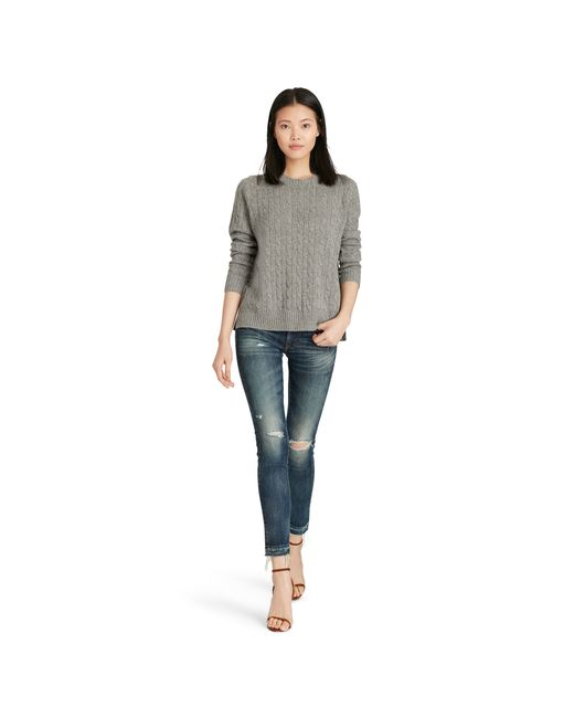 Polo Ralph Lauren | Gray Slim Cable Cashmere Sweater | Lyst