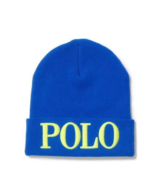 Polo Ralph Lauren | Blue Embroidered Wool-blend Beanie | Lyst