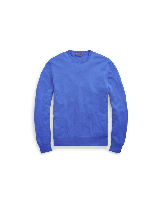 Ralph Lauren Purple Label Blue Cashmere Crewneck Jumper for men