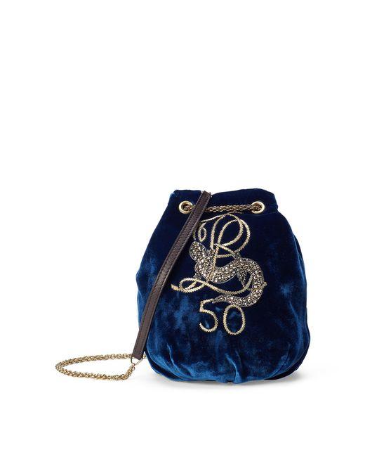 Ralph Lauren - Blue Embroidered Velvet Bag - Lyst
