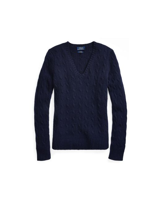 Polo Ralph Lauren - Blue Cable Cashmere V-neck Sweater - Lyst