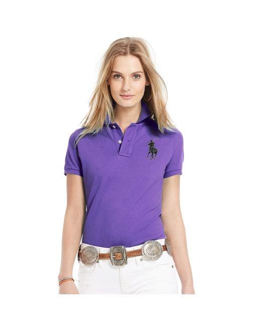 Polo ralph lauren skinny fit big pony polo shirt in purple for Black ralph lauren shirt purple horse