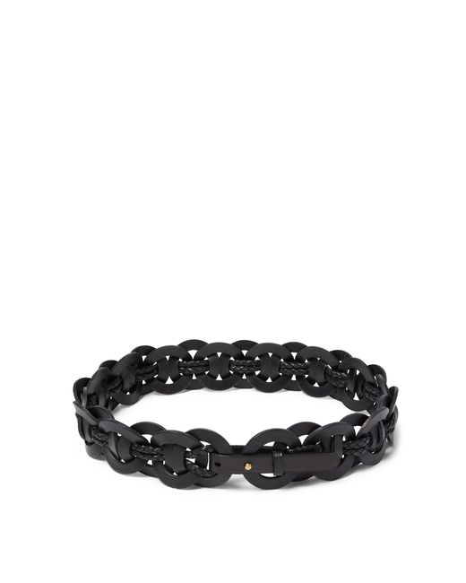 polo ralph woven o ring leather belt in black