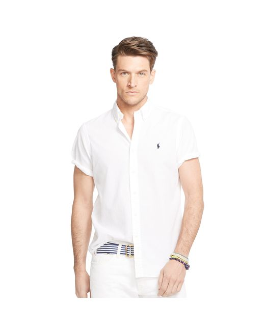Pink pony seersucker short sleeve shirt in white for men for Mens short sleeve seersucker shirts