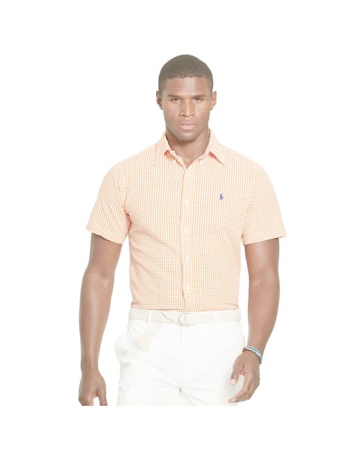 Polo ralph lauren seersucker short sleeve shirt in white for Mens short sleeve seersucker shirts