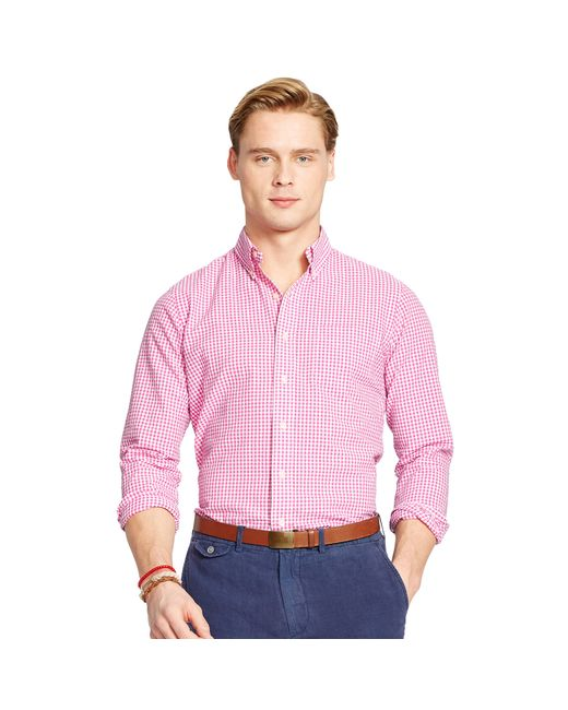 Polo ralph lauren gingham seersucker sport shirt in pink for Mens seersucker shirts on sale