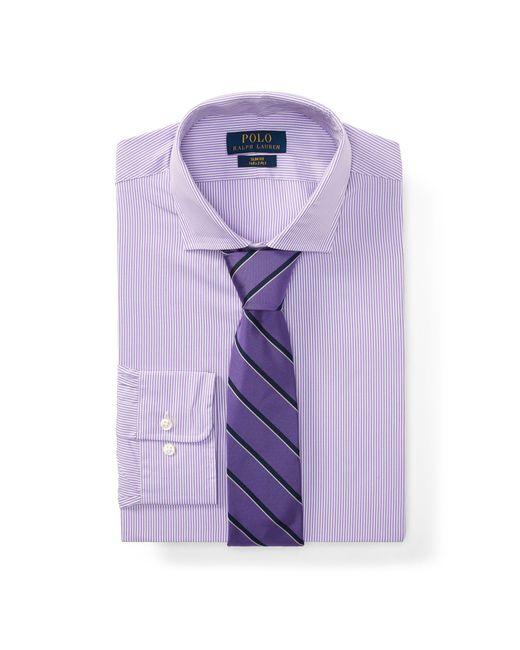 Polo Ralph Lauren - Purple Slim Fit Striped Poplin Shirt for Men - Lyst
