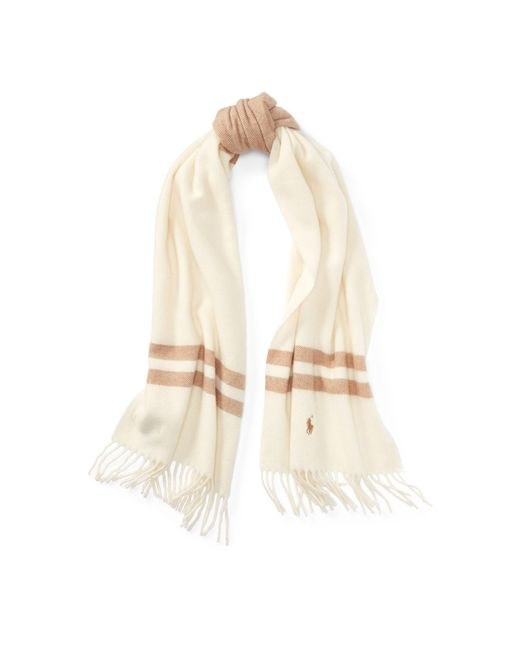Polo Ralph Lauren | Natural Stripe Wool Blanket Scarf | Lyst