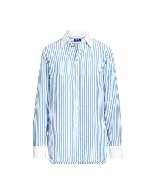 6f000469013 Polo Ralph Lauren - Blue Striped Silk Button-down Shirt - Lyst ...