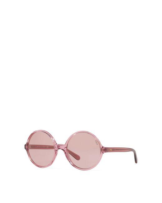 20b3a7e8433 ... Polo Ralph Lauren - Pink Oversize Round Sunglasses - Lyst ...