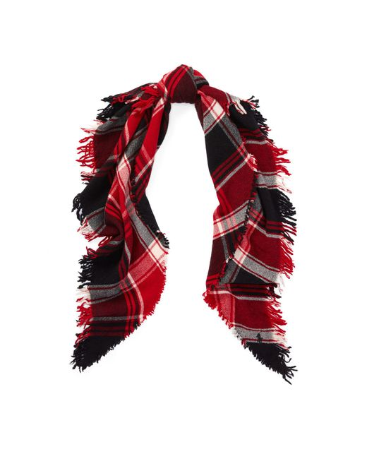 Polo Ralph Lauren - Red Plaid Wool Triangle Scarf - Lyst