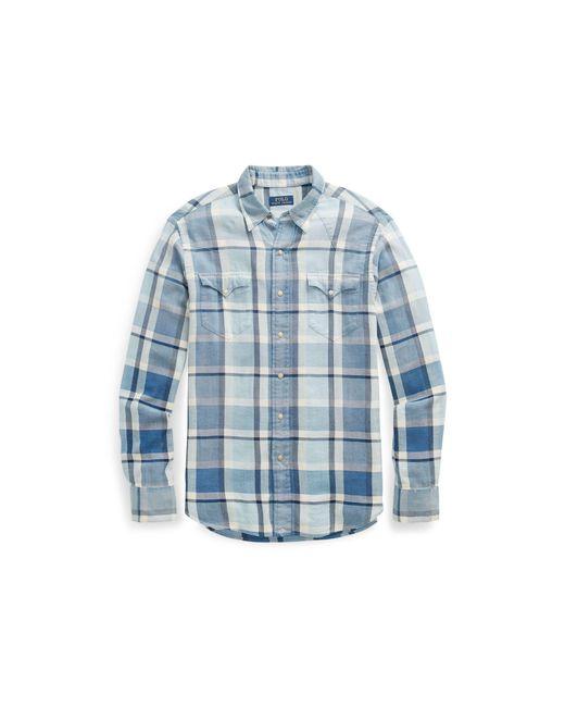 dea86b692 ... where to buy polo ralph lauren blue classic fit plaid twill shirt for men  lyst cbd1a