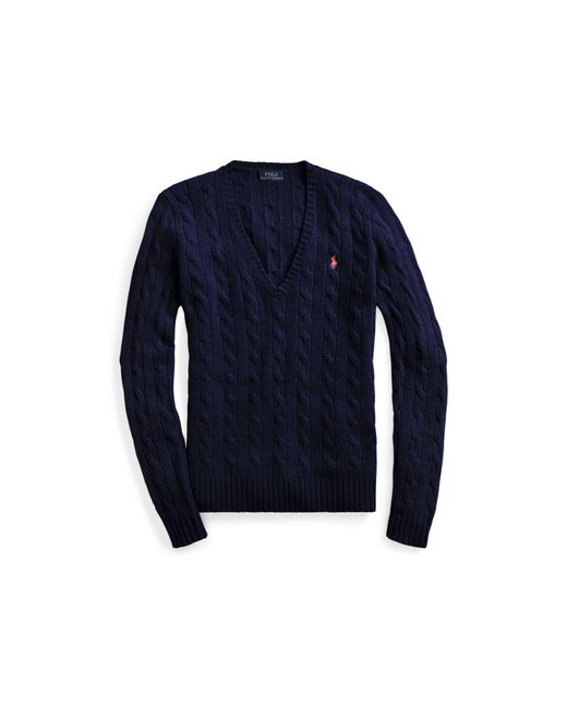 Polo Ralph Lauren | Blue Cable-knit V-neck Sweater | Lyst
