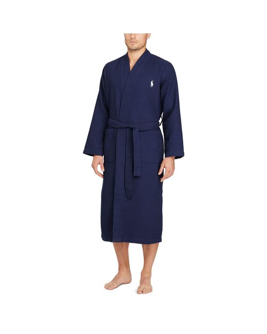 Polo Ralph Lauren | Blue Waffle-knit Cotton Kimono Robe for Men | Lyst