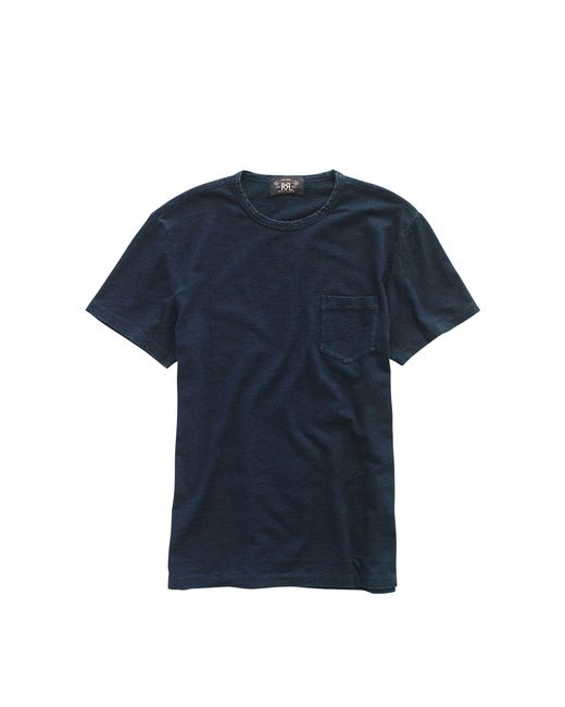 RRL - Blue Slub Pocket Tee for Men - Lyst