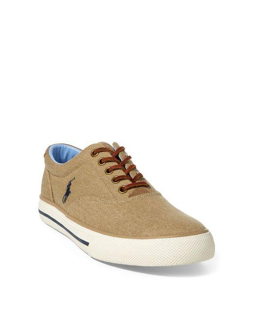 Polo Ralph Lauren - Brown Vaughn Washed Twill Sneaker for Men - Lyst