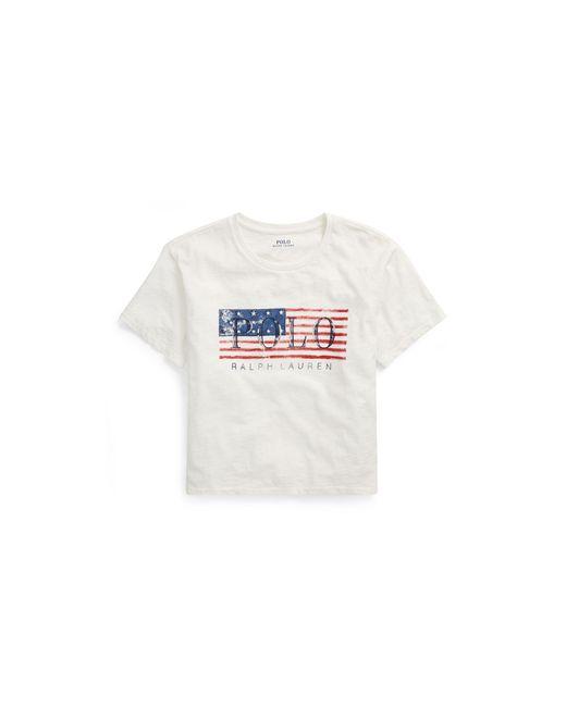 Polo Ralph Lauren   White Flag Cropped Cotton T-shirt   Lyst