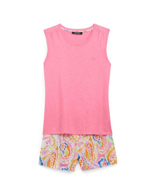 Ralph Lauren | Pink Tank & Paisley Sleep Short Set | Lyst