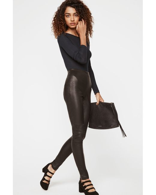 Rebecca Minkoff | Black Leather Combo Pleated Pants | Lyst
