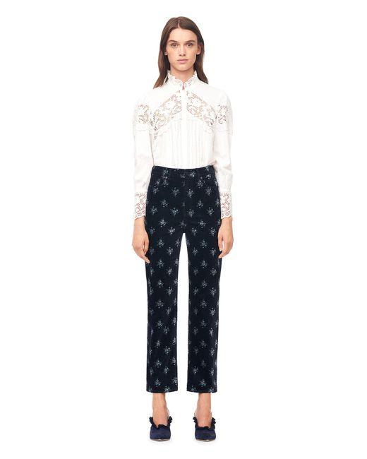 Rebecca Taylor | Blue La Vie Celeste Floral Velvet Pant | Lyst