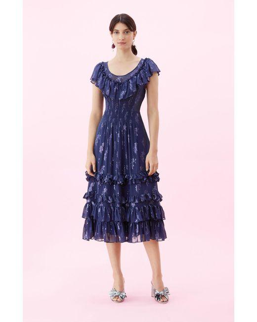 627d08285d8f Rebecca Taylor - Blue Metallic Star Clip Dress - Lyst ...