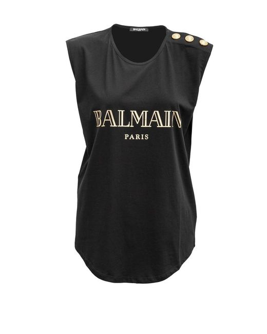 Balmain - Black Cotton Tank With Embossed Buttons - Lyst