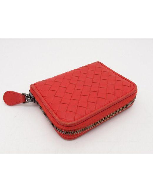 d6141caed7f7 ... Bottega Veneta - Coin Case Intrecciato Leather Orange 3813 - Lyst ...
