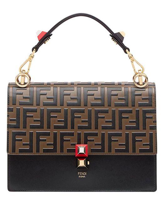 b2248ac92b30 Lyst - Fendi Women s 8bt283a5tyf13wb Brown Leather Handbag in Brown