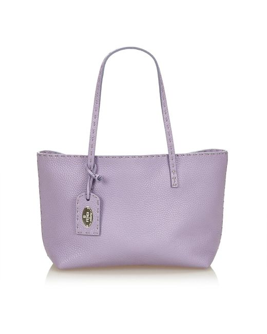 658d900fda ... buy low cost fendi purple leather selleria tote bag lyst 000eb 955cf  419e1 6ae23