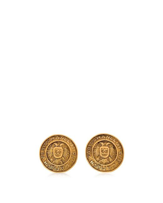 Chanel - Metallic Pre-owned Round Medallion Clip On Earrings - Lyst