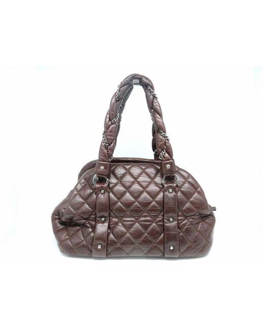 b0e3af68d5eae8 ... Chanel - Matelasse Cc Shw Tote Bag Shopper Calfskin Leather Brown 9297  - Lyst ...