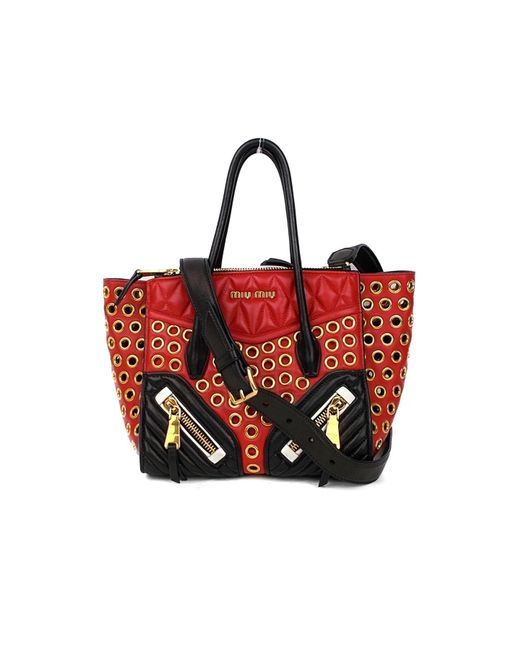 0f4e679953af Lyst - Miu Miu 2way Shoulder Bag Leather (calf) Red in Red