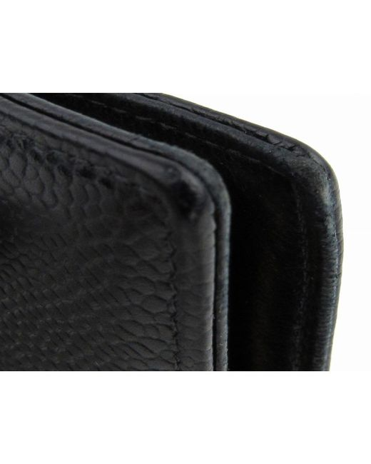 7b636a015db7 ... Chanel - Auth Cc Bi-fold Long Wallet Purse Caviar Skin Leather Black  Used Vintage ...