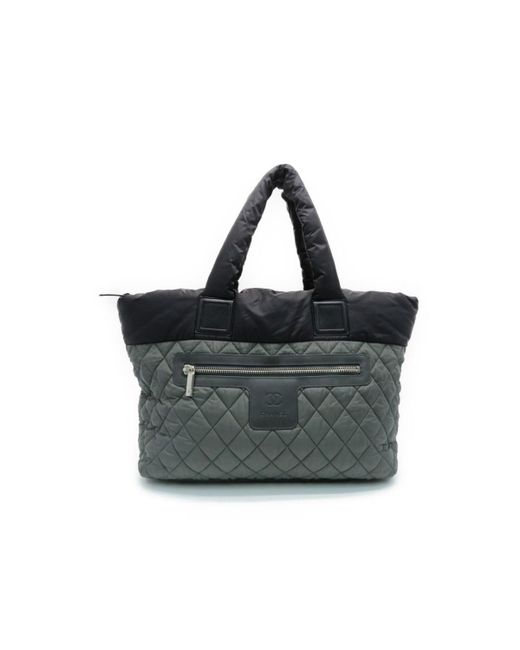 Lyst Chanel Auth Coco Co Tote Bag Quilted Nylon Black Green 1972aaf255942