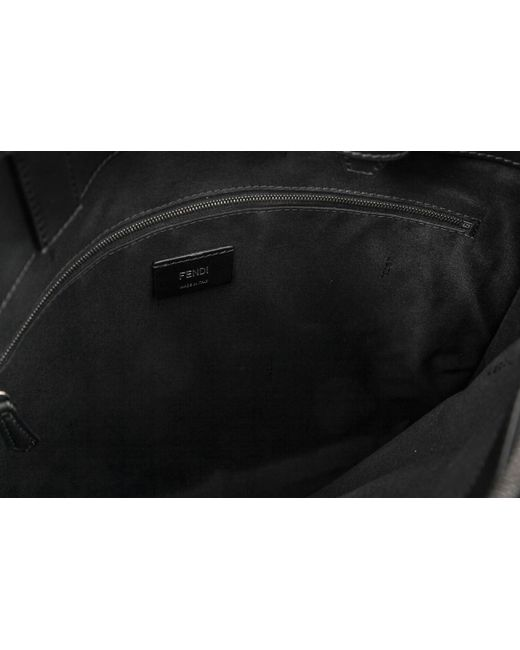 07e62792092a ... Fendi - Black Embossed Ff Logo Tote for Men - Lyst ...