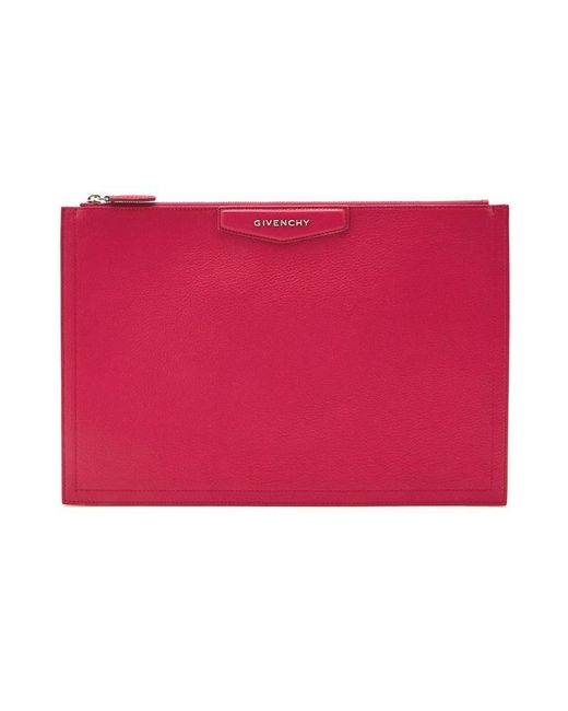 Givenchy - Red Large Grained Leather Pouch - Lyst